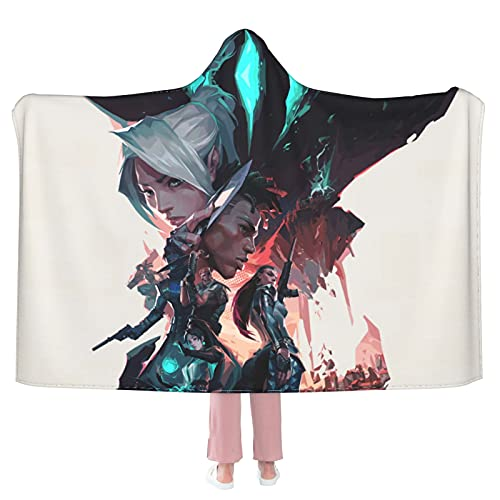 """Valorant Games 1 Hooded Blanket Cloak Cape Shawl Soft and Comfortable Wrap Blanket for Living Room Camping Travel 50""""X40"""""""