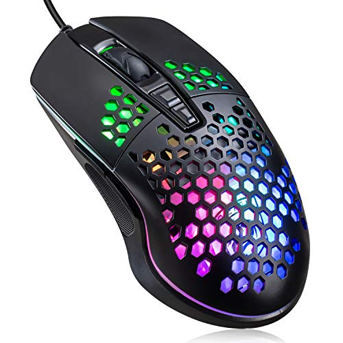 Lightweight Gaming Mouse, Wired USB PC Gaming Mice with Ultralight Honeycomb Shell, RGB Chroma LED Light, 6400 DPI Adjustable, Pixart 3325, Programmable 7 Buttons Mouse for Windows 7/8/10/XP