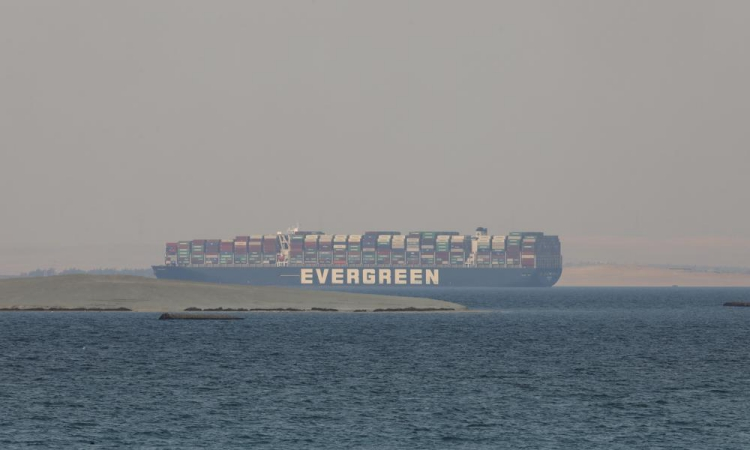 The ship Ever Given is towed to the Great Bitter Lake, Egypt, on March 30.  Photo: AP.